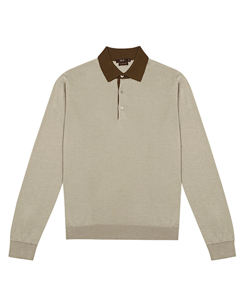 Grey Cashmere & Silk Long Sleeve Polo Shirt