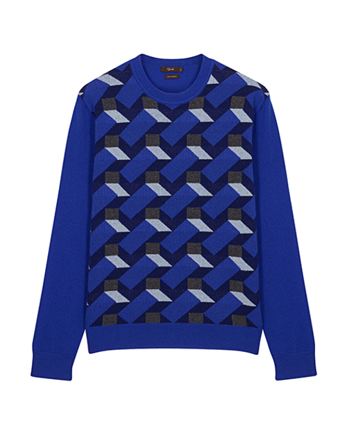 Blue Cashmere Knitted Crew Neck Jumper