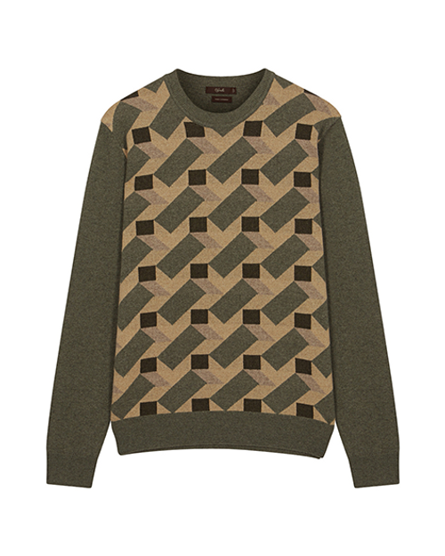 Brown & Green Pure Cashmere Crew Neck Jumper