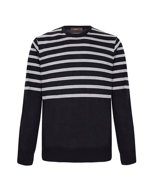 Grey Striped Navy Cotton Crew Neck Sweater