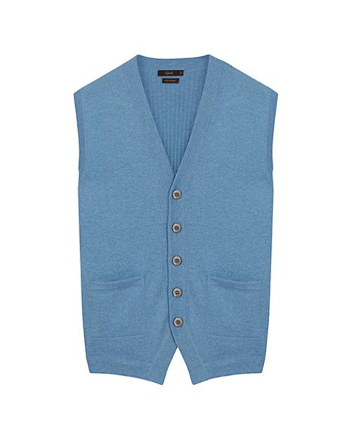 Light Blue Pure Cashmere Sleeveless Cardigan