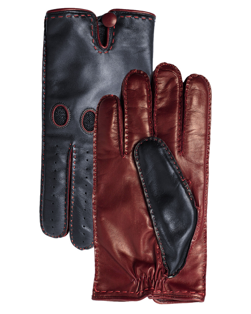 Navy & Burgundy Leather Gloves