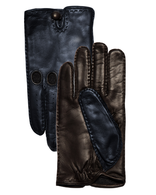 Navy & Brown Leather Gloves