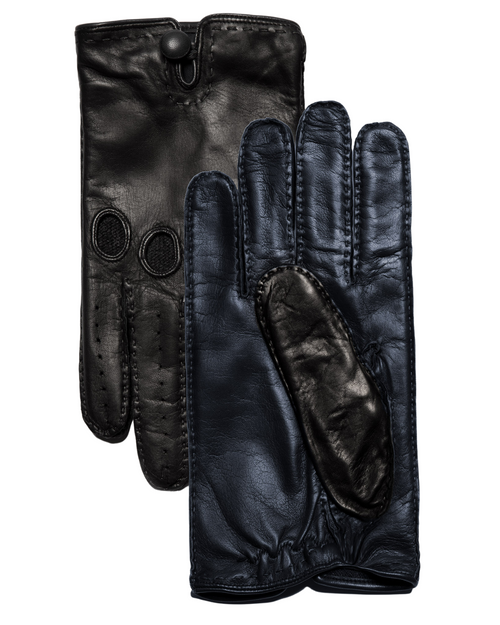 Black & Navy Leather Gloves