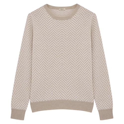 Beige and White Zig Zag Crew Neck Jumper