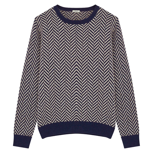 Blue and Beige Zig Zag Crew Neck Jumper