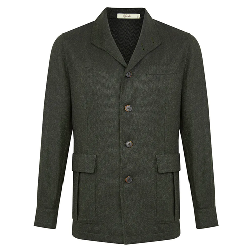 Dark Green Merino Wool Herringbone Teba Jacket