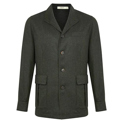Dark Green Merino Wool Herringbone Teba Jacket