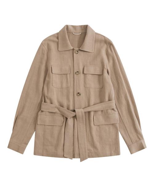 Beige Indian Textured Linen Belted Safari Jacket