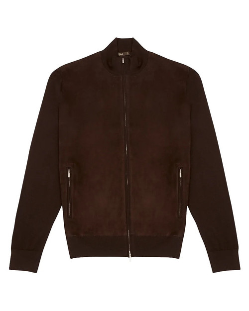 Brown Cashmere Knitted Bomber Jacket