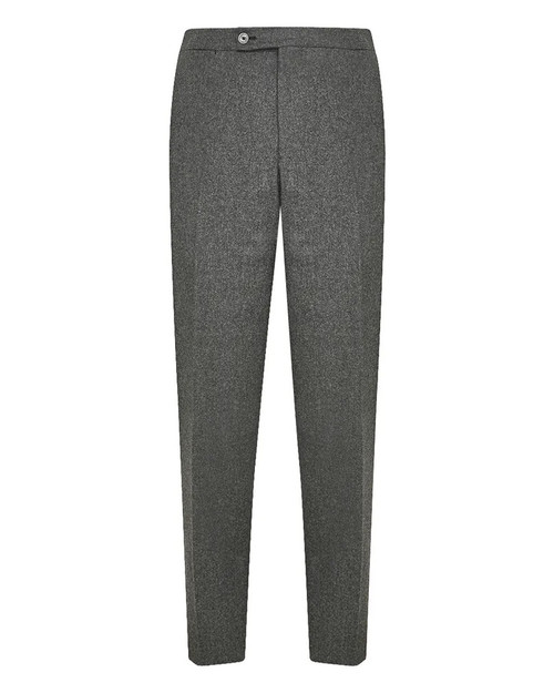 Grey Wool Flat Front Trousers