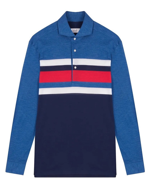 Blue Red and White Cotton Horizontal Striped Long-Sleeved Polo Shirt