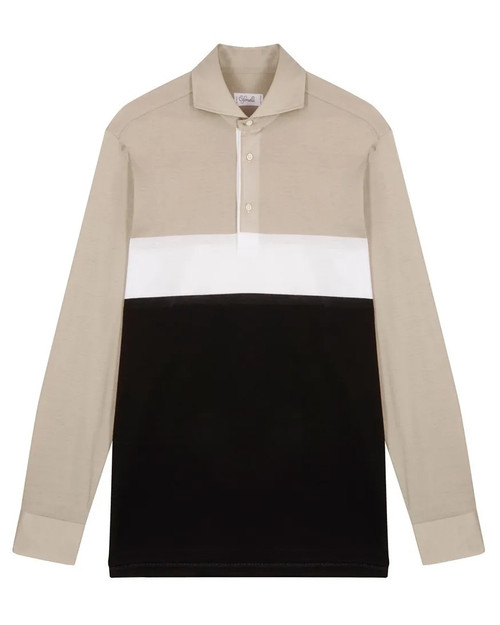 Black White and Grey Cotton Horizontal Striped Long-Sleeved Polo Shirt
