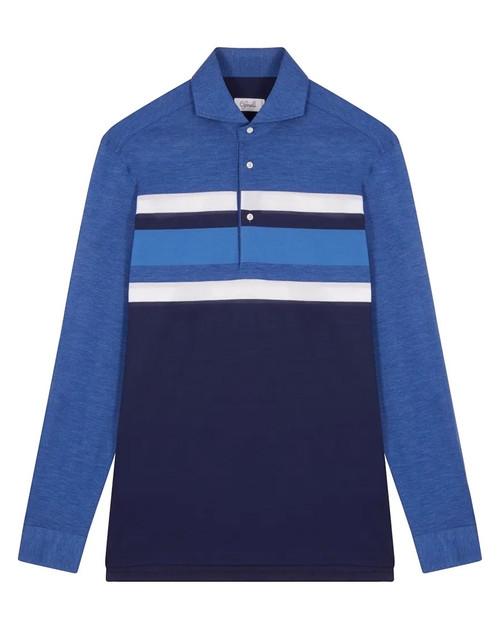 Navy Blue Cotton Horizontal Striped Long-Sleeved Polo Shirt