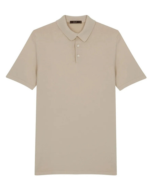 Sand Cotton Short-Sleeved Polo Shirt
