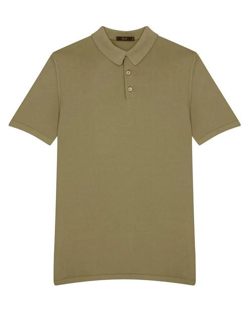 Khaki Green Cotton Short-Sleeved Polo Shirt