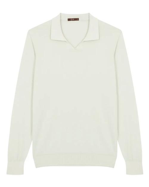 Green Cotton Long-Sleeved Polo Shirt