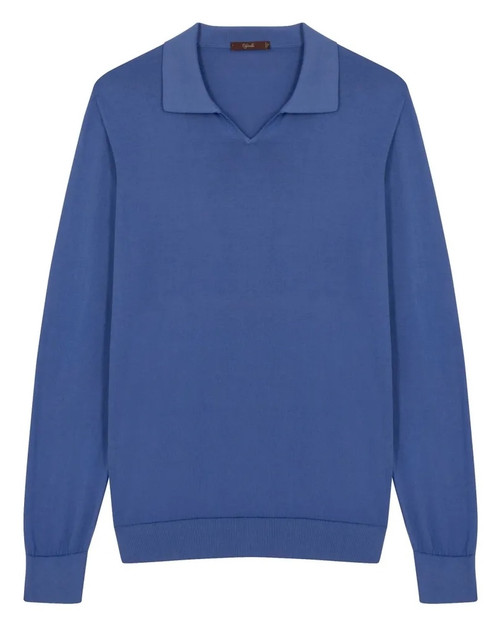 Midnight Blue Cotton Long-Sleeved Polo Shirt