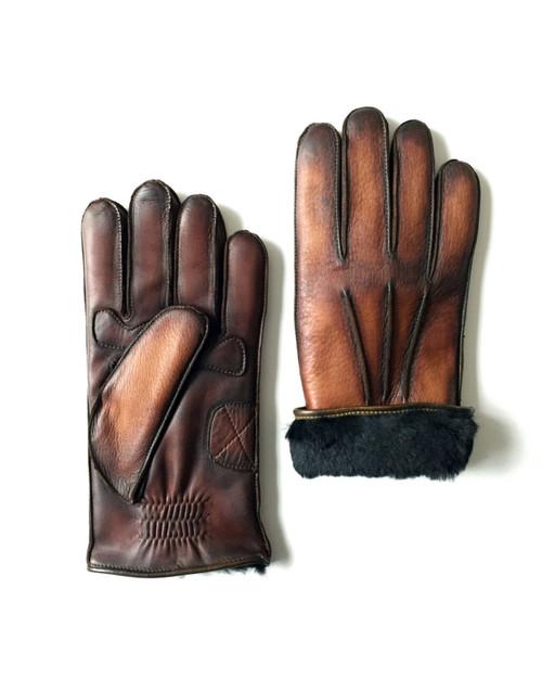 Brown Vintage Motor Bike Rabbit Fur Lined Patinaed Gloves