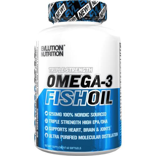 Evlution Nutrition Omega 3 Fish Oil 60 Softgels (60 Pills)