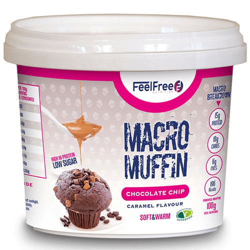 Feel Free Nutrition Macro Muffin 50 G x 16 Pack - Chocolate Chip Caramel