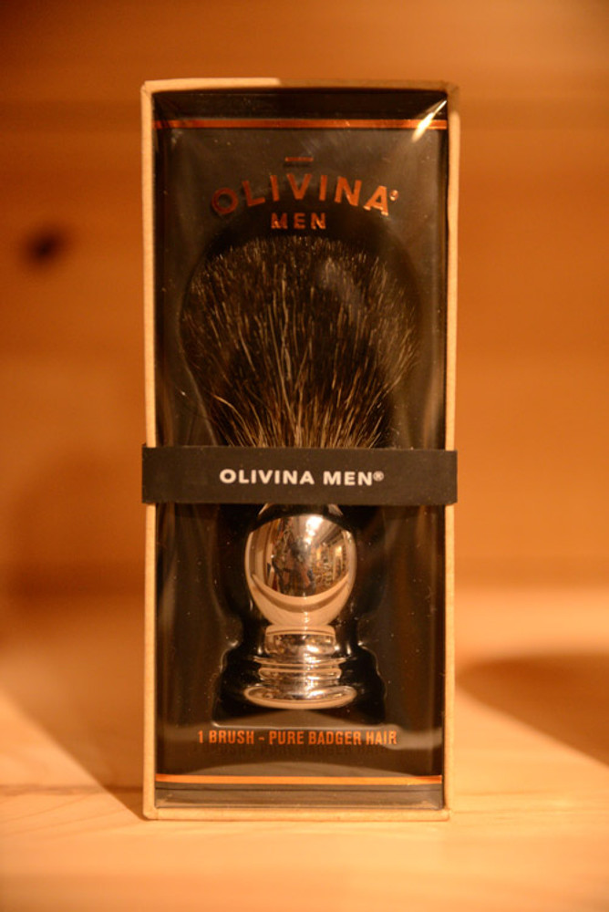 Olivina Men - Badger Hair Shave Brush (Chrome)