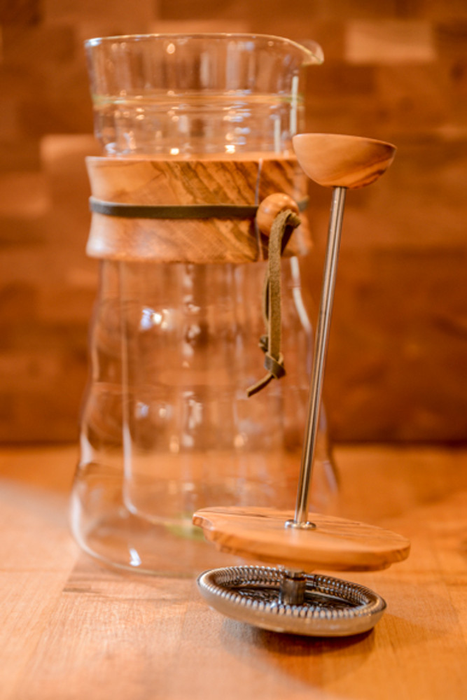Hario - Double Glass Coffee Press W/ Olive Wood