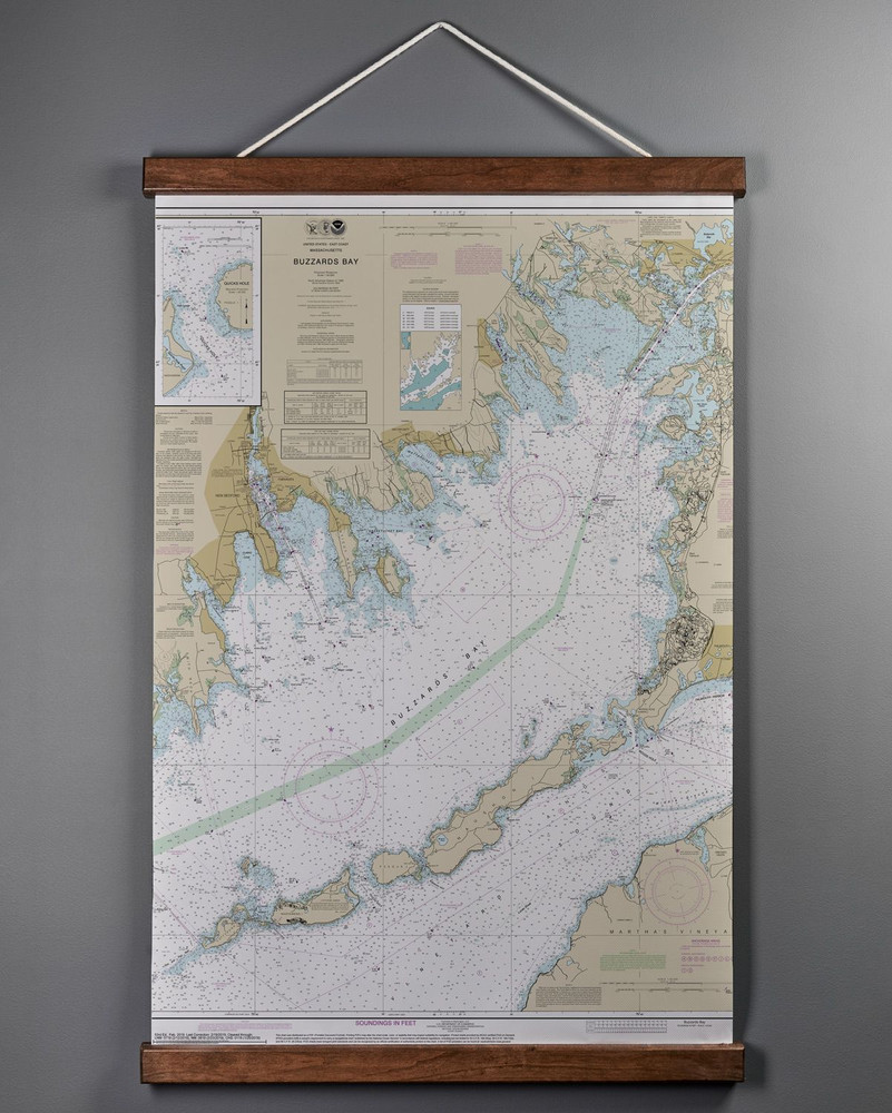 """Buzzards Bay Nautical Hanging Wall Chart - 24 """" x 36"""""""