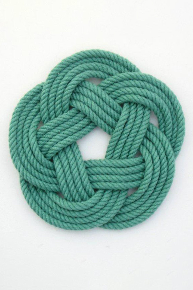 Mystic KnotWorks - Green Sailor Knot Coasters (Set of 4)