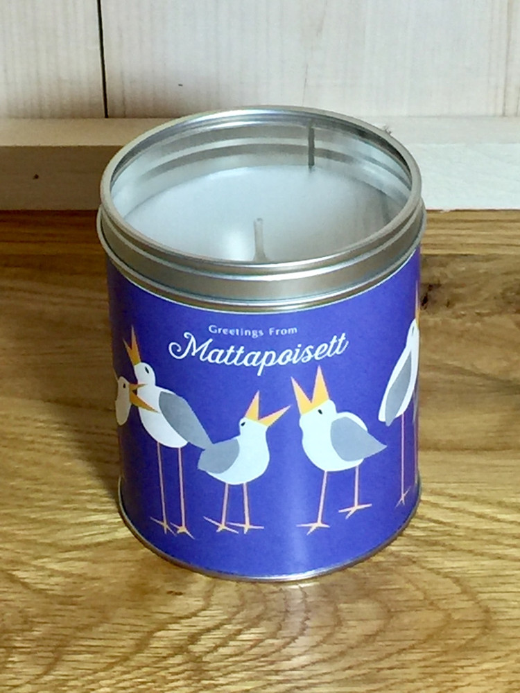 """Greeting From Mattapoisett"" Seagull Candle"