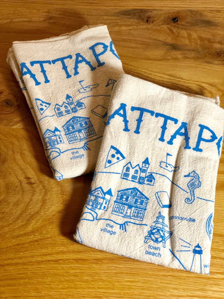 Mattapoisett Map Floursack Tea Towel - Boston Blue