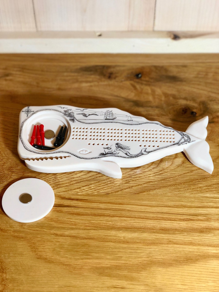 Mattapoisett Scrimshaw-style Whale Shaped Cribbage Board - Salty The Seahorse