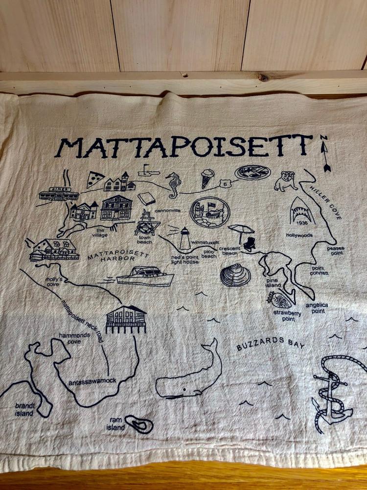 Mattapoisett Map Floursack Tea Towel - Navy Blue