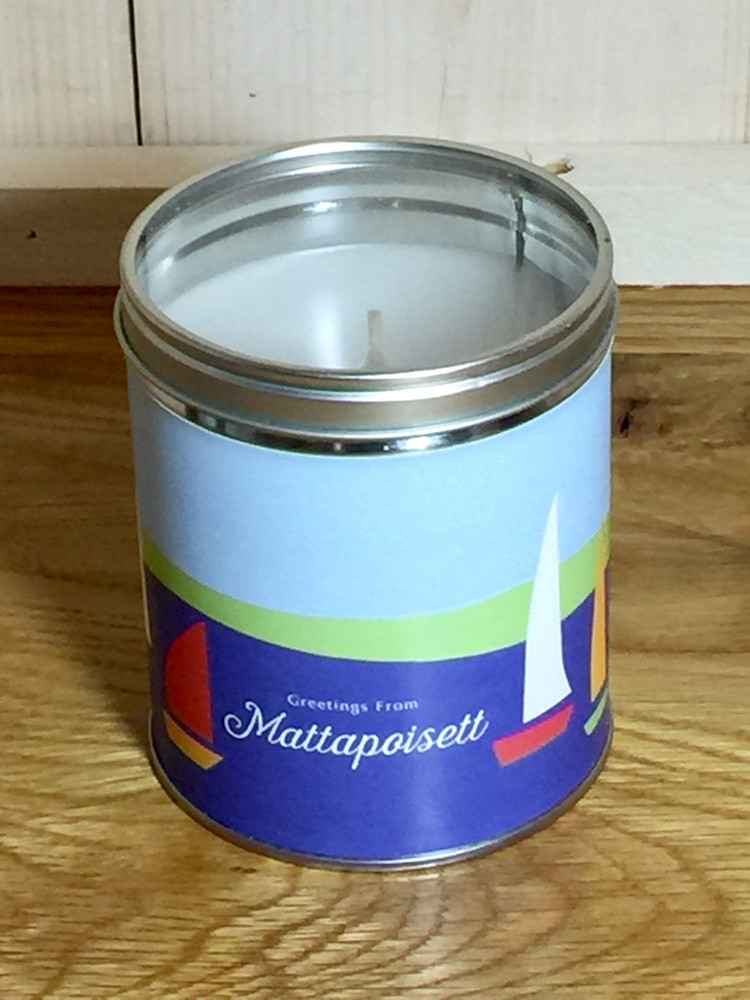 """Greeting From Mattapoisett"" Sailboat Candle"