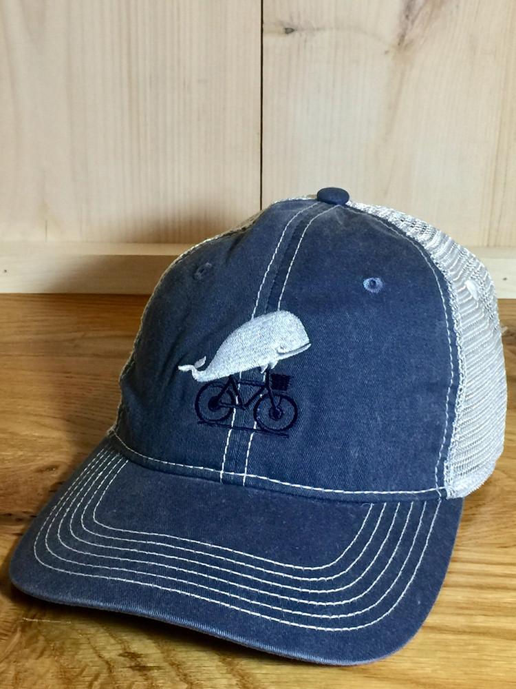 TWGS Embroidered Whale-on-the-bike Logo Baseball Hat - Mesh - Slate Blue