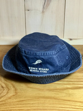 TWGS Embroidered Whale-on-the-bike Logo Bucket Hat - Denim Blue