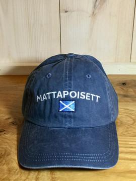 Mattapoisett & Nautical Flag Logo Baseball Hat - Distressed Navy