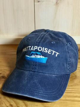 Mattapoisett & Bass Boat Logo Baseball Hat - Distressed Navy