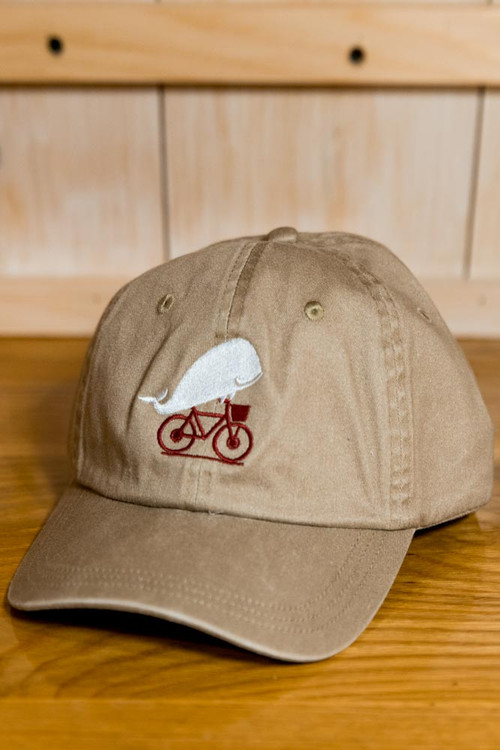 TWGS  Embroidered Whale-On-The-Bike Logo Baseball Hat - Khaki
