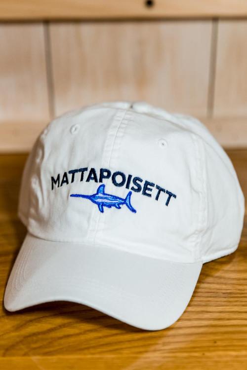 Mattapoisett & Swordfish Logo Baseball Hat - White