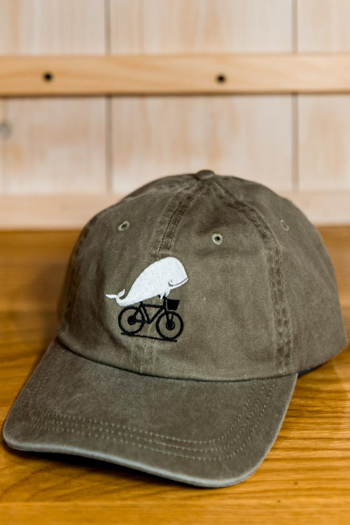 TWGS Embroidered Whale-On-The-Bike Logo Baseball Hat - Sage Green