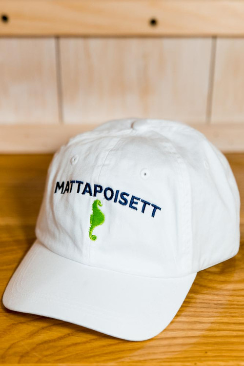 Mattapoisett & Seahorse Logo Baseball Hat - White