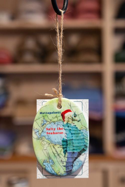 Mattapoisett Christmas Ornament - Nautical Chart w/ Salty the Seahorse
