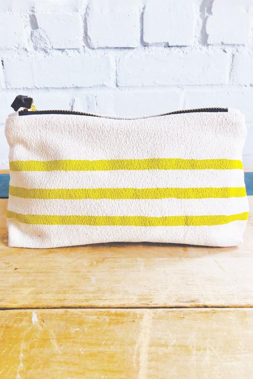Erin Flett - Navy 3 Lines Wristlet Zipper Bag (Golden Rod)