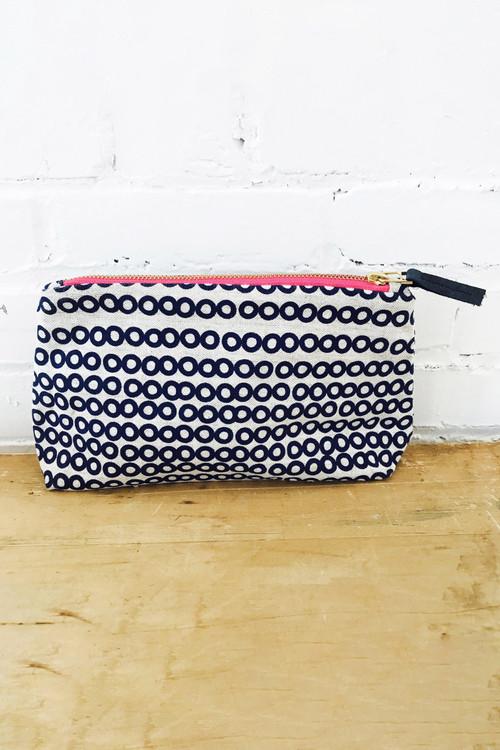 Erin Flett - Navy Deco Makeup Zipper Bag