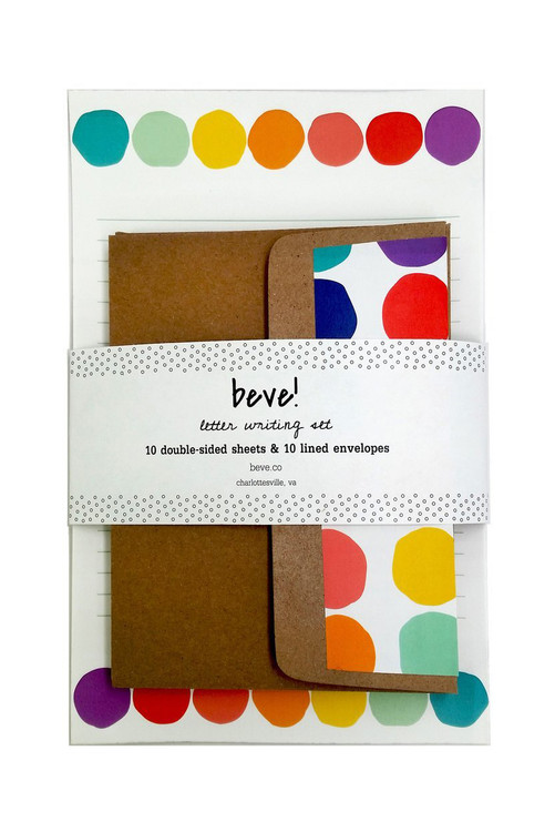 Beve! -  Rainbow Dot Letter Writing Set