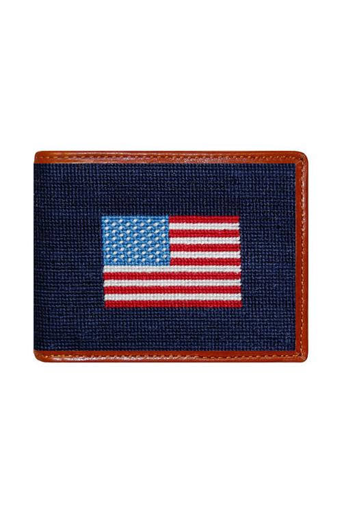 Smathers & Branson - American Flag Needlepoint Bi-Fold Wallet
