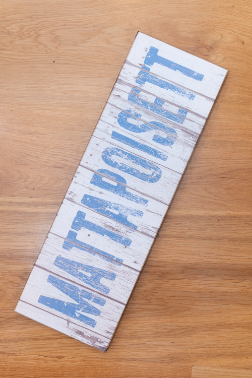 Distressed Mattapoisett Sign - White & Blue