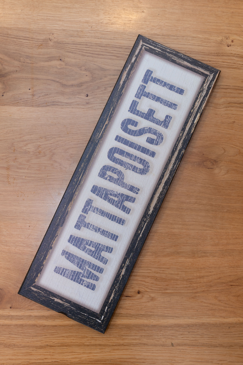 Distressed Mattapoisett Sign - Brown & Blue
