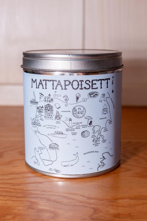Mattapoisett Map Candle - Light Blue